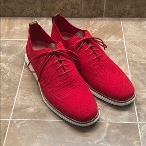 Cole Haan 11M Zero Grand Red Knit Lace-Up Shoes